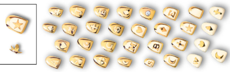 Symbols on Gold Denture Teeth