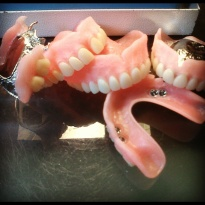 Just before we polish the dentures